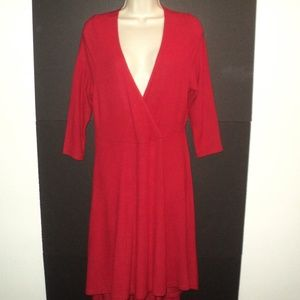 Torrid Sz 00 M/L Red Sweater Knit Dress Wrap-Look